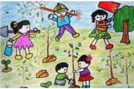 儿童画植树节图片-大家一起来植树