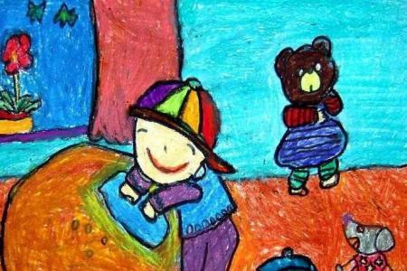 五一劳动节儿童绘画-小朋友擦桌子