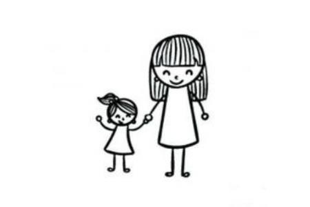 母亲节简笔画素材 母女简笔画画法