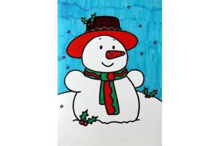 圣诞节雪人儿童画图片