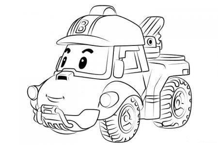警车珀利工程车巴奇简笔画