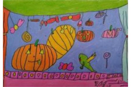 快乐万圣节儿童画,万圣节比赛儿童画优秀图片