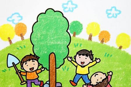 庆五一的儿童蜡笔画-劳动节我们也忙碌