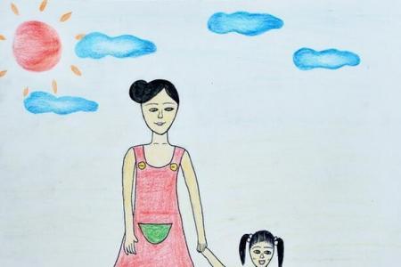 和妈妈手牵手简单的母亲节彩铅画图片欣赏