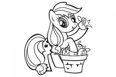 摘苹果的小马宝莉简笔画