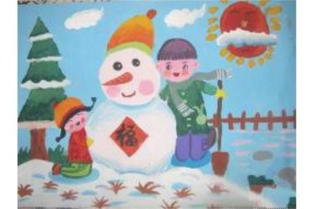 春节堆雪人儿童绘画作品