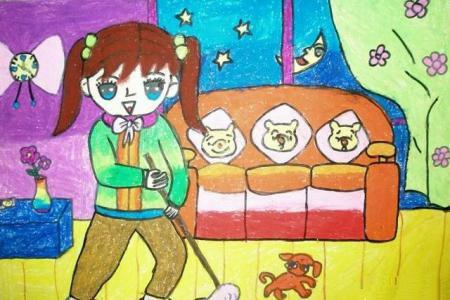 五一劳动节儿童画-我劳动我光荣