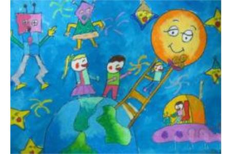 儿童画中秋节快乐