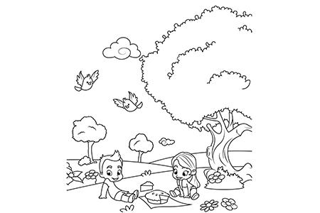 小朋友们一起野餐