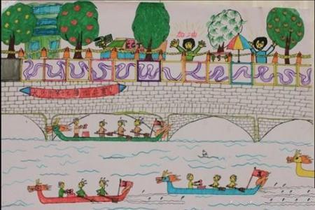 端午节赛龙舟儿童画-热闹的龙舟赛