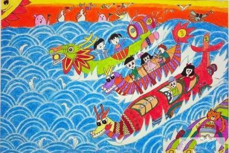 端午节儿童画美术绘画作品欣赏