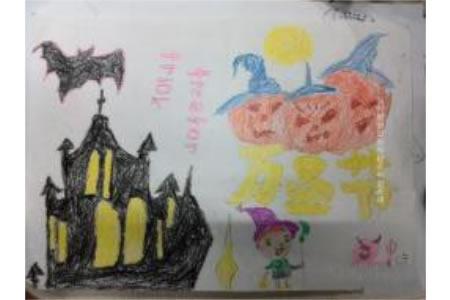 万圣节儿童画图片-神秘的城堡