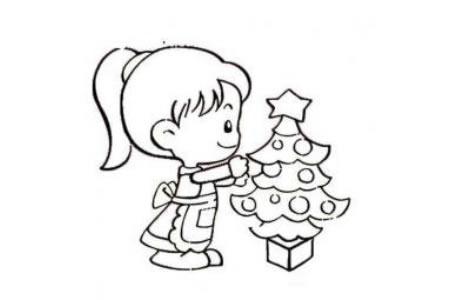 布置圣诞树的小女孩简笔画