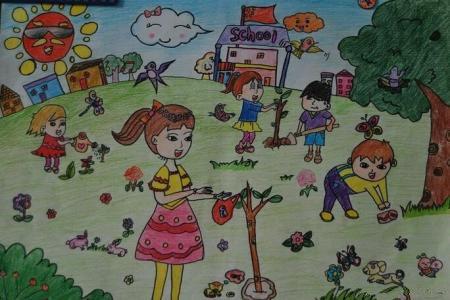 栽花种树欢乐多五一劳动节画画图片欣赏