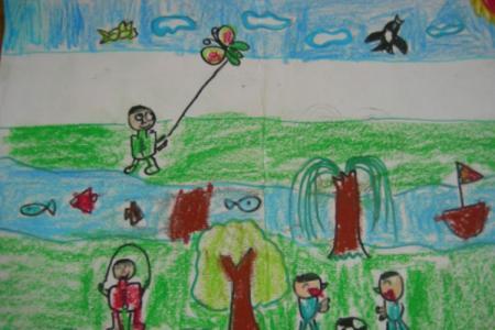 清明节踏青儿童画欣赏-欢乐的假期行