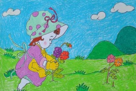 小小花匠姑娘庆祝五一劳动节儿童画范画
