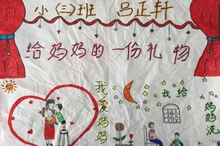 给妈妈洗脚幼儿画妇女节主题画分享