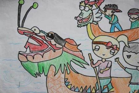 端午节儿童画 精彩的龙舟赛