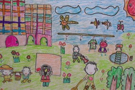 庆五一劳动节儿童画-打扫卫生