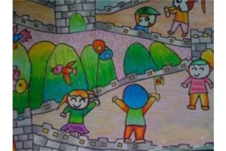 欢庆国庆节儿童画-快乐的国庆假期