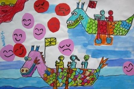 赛龙舟儿童画作品-龙舟的喜怒哀乐