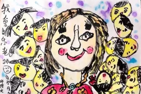 教师节儿童画 二年级学生作品 我爱音乐老师