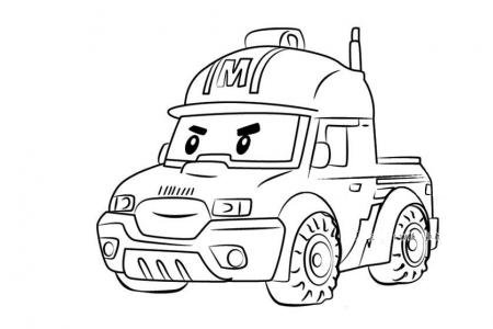 警车珀利马克简笔画
