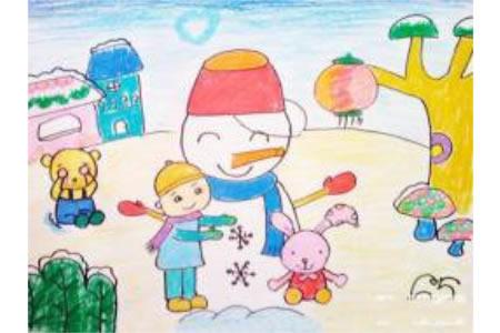 小学生美丽的冬天儿童画作品