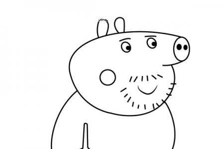 小猪佩奇之猪伯伯简笔画