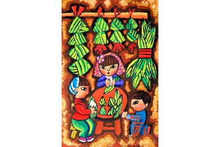 端午节创意儿童画-我和妈妈包粽子