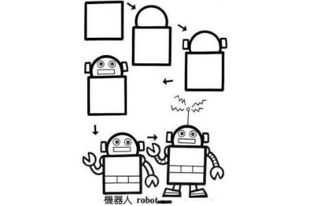 画机器人简笔画的步骤