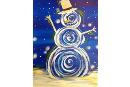 冬天雪人儿童画图片大全-旋转中的雪人