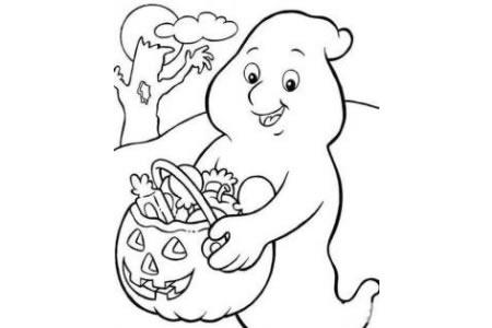 万圣节简笔画幽灵和南瓜灯