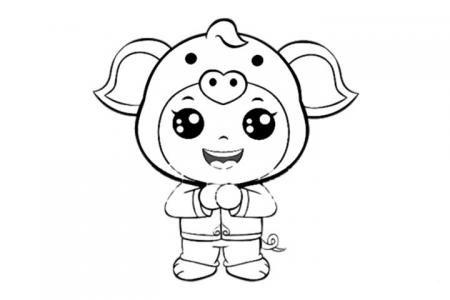 春节小孩拜年的简笔画