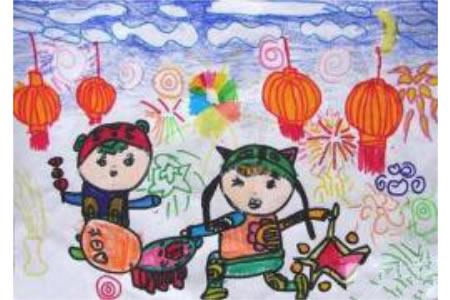 幼儿元宵节儿童画图片