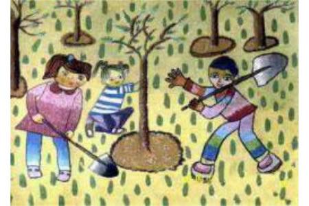 植树节儿童画欣赏-看看我们是怎样植树的