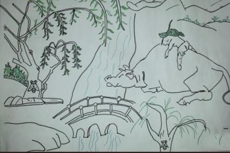 清明节小学生的绘画作品之牧童放牧