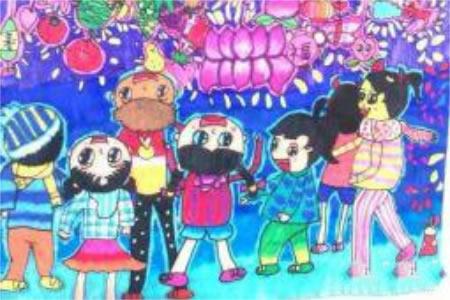 小学三年级元宵节儿童绘画图片:花灯展