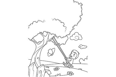 小男孩在大树下荡秋千