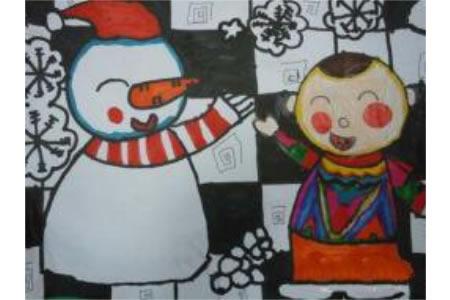 冬天为主题的儿童画-快乐每一天