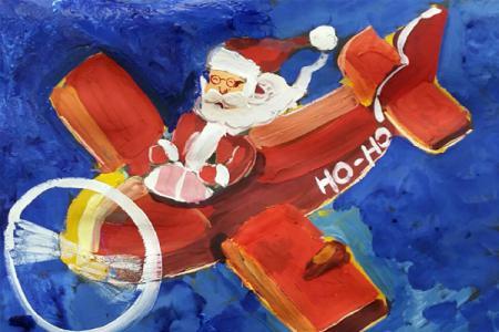 一组漂亮的圣诞节儿童水粉画