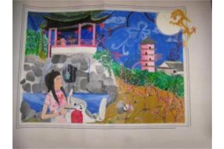 天涯共此时,中秋节国外华侨儿童画