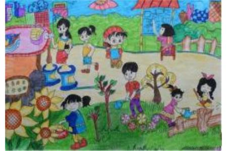 种树浇花植树节绘画获奖作品分享