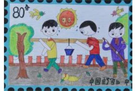 挑水的小男孩关于学雷锋的画分享
