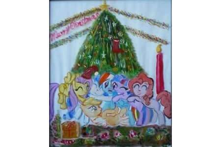 儿童画小马驹的快乐圣诞