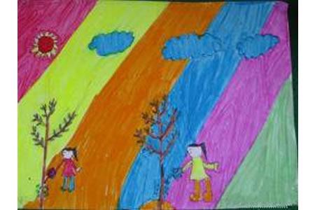 关于植树节儿童画-团结合作