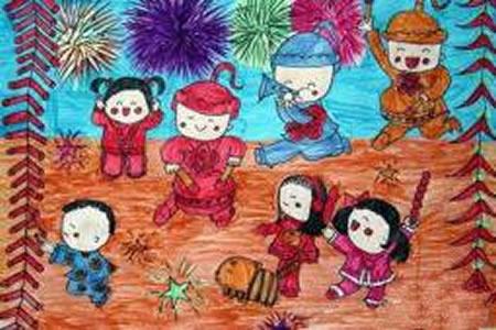 儿童欢乐过新年场景儿童画图片