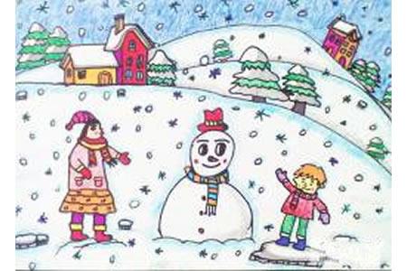 儿童画冬天绘画作品