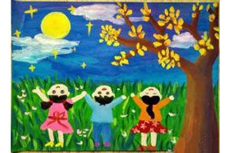 大家一起来赏月中秋节儿童画教师范画