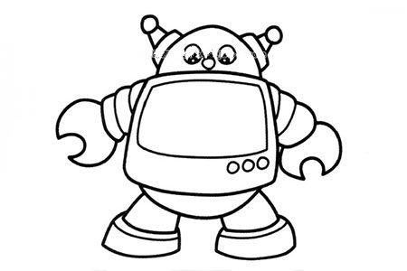 超萌机器人简笔画图片